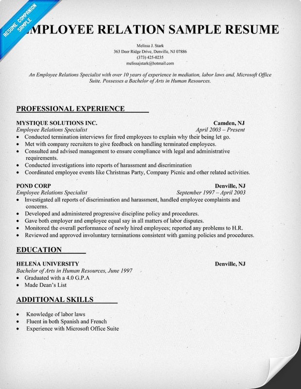 Sample of a employee relations resume