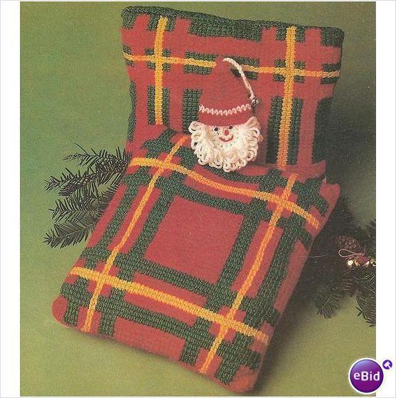 Crochet Pillow Pattern Green Plaid Pillow on eBid New Zealand