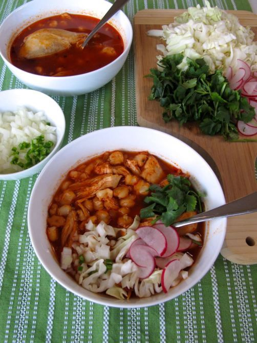Chicken Pozole with hominy, cabbage, cilantro, radishes, serrano, and ...