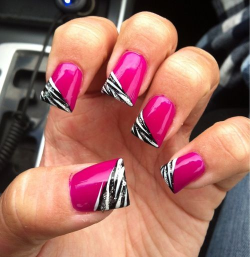 Hot pink zebra print nails | Nails | Pinterest