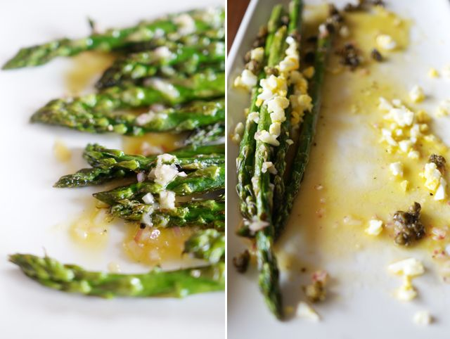 asparagus with fried capers, lemon-mustard vinaigrette, and eggs