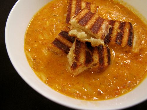 Tomato Soup with Grilled Cheese Croutons | RECIPES | Pinterest