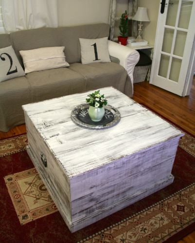 Rustic Shabby White Coffee TableBlanket BoxToy Storage ...