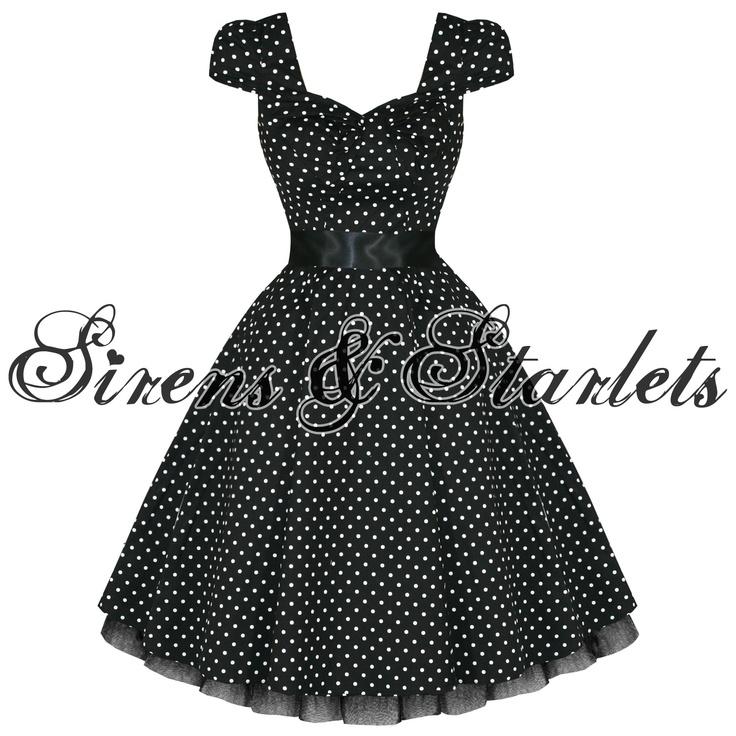 Robe Style Annees 50 Rockabilly Vintage Noire A Pois Blancs Femme Pour ...