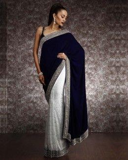 Lace Saree with Swarvoski and Velvet pallu