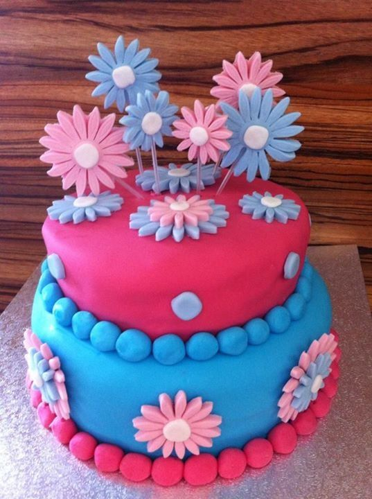 Pink and blue flower birthday cake!  Cakes  Pinterest