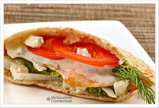 ... chicken pitas with feta cheese and cucumber yogurt sauce make for a