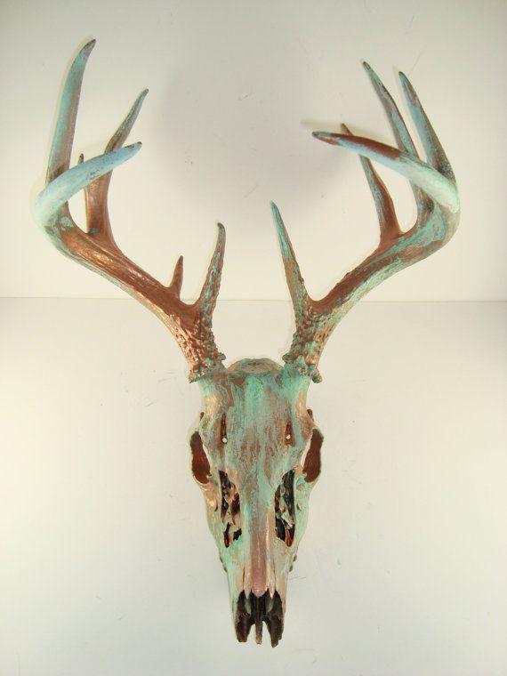 Copper Natural Patina Deer Skull Antlers Art Sculpture