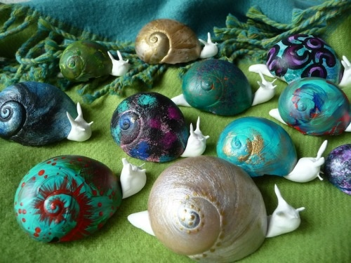 Painted snails, inspired by street artist Slinkachu who paints on live ones!