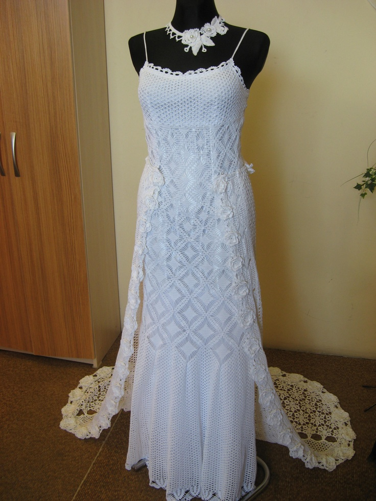 Crocheted wedding dresses crotcheting Pinterest