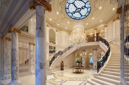 Grand Foyer And Double Staircase Amazing Foyers