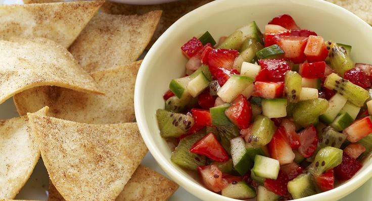 Cool Strawberry Salsa with Cinnamon Tortilla Chips | Recipe