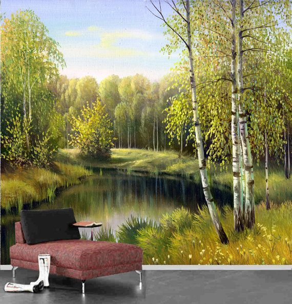 Autumn landscape painting wall mural reposition able and for Autumn wall mural
