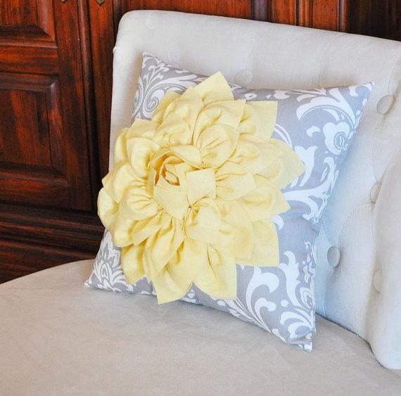 Decorative Pillow- Light Yellow Dahlia on Gray and White Damask Pillo?
