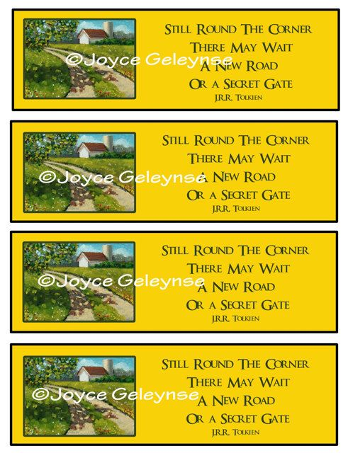 Printable Bookmarks Country Lane Painting: Quote By J.R.R. Tolkien: by joyart, $3.00