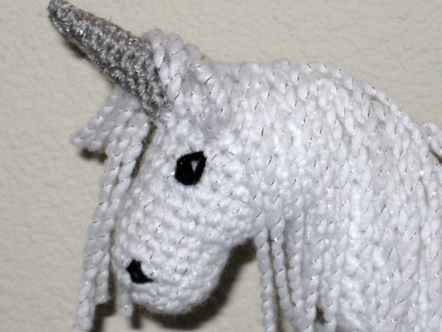 Plush Fantasy White Sparkle Unicorn With Silver Horn Crocheted ...