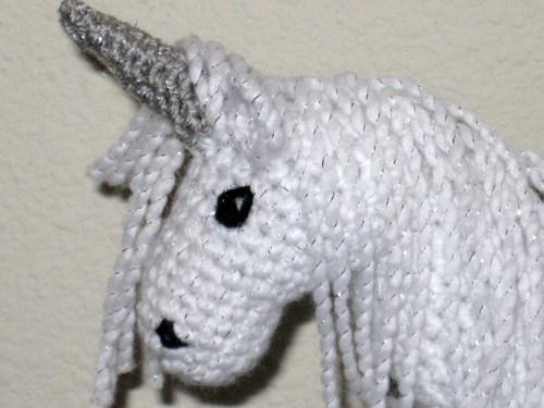 Crochet Unicorn Horn : Plush Fantasy White Sparkle Unicorn With Silver Horn Crocheted ...