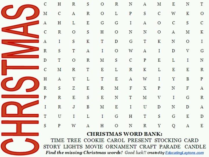 Christmas word search | Homeschool Stuffs | Pinterest