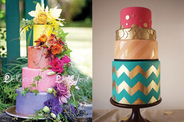 Colorful wedding cakes.