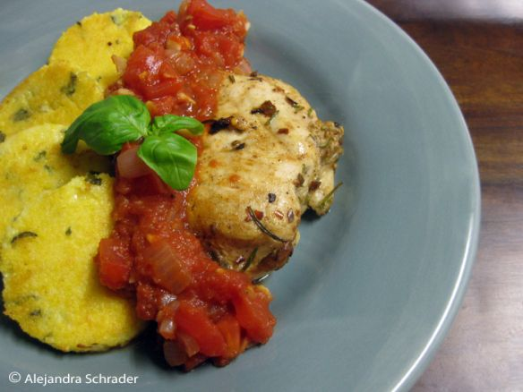 Herb-garlic chicken and basil-parmesan polenta cakes with home-made ...