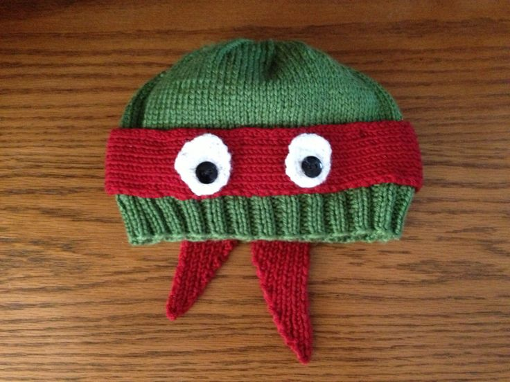 Knitting Pattern Turtle Hat : Teenage Mutant Ninja Turtle Knit Hat Knitting Pinterest