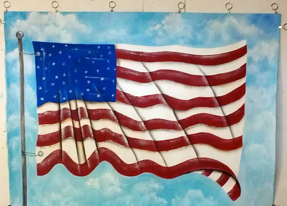 Large american flag painting wall hanging mural for American flag wall mural
