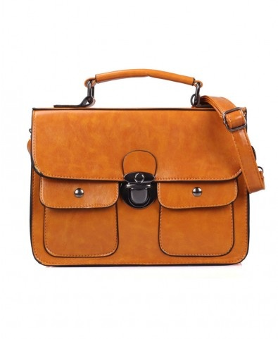leather duffle bags for men Yellow Rectangular PU Bag with Stud and Skull Detail and Different Si