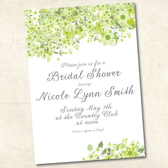 Printable bridal shower invitations - green flower theme
