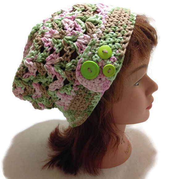 Crochet Stitch Open : Crochet Open Stitch Summer Slouch Button Tab Beanie in Pink Green Bro ...