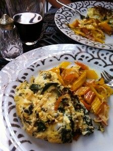 Swiss chard, caramelized onion, and garlic scape frittata