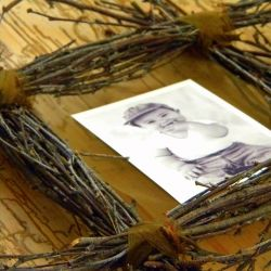 Gathered twigs make a perfect frame for fall or a rustic look.