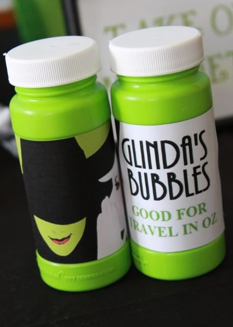 Wizard of Oz good premotional- cheap dollar store bubbles ( doesn't mtter what color) with the Glinda's bubbles good for travel in Oz and on the back *come see the wizad of Oz at Arnold (dates and times) free admission
