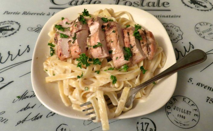 Alfredo Sauce Grilled Buttermilk and Herb Marinated Chicken Breasts ...