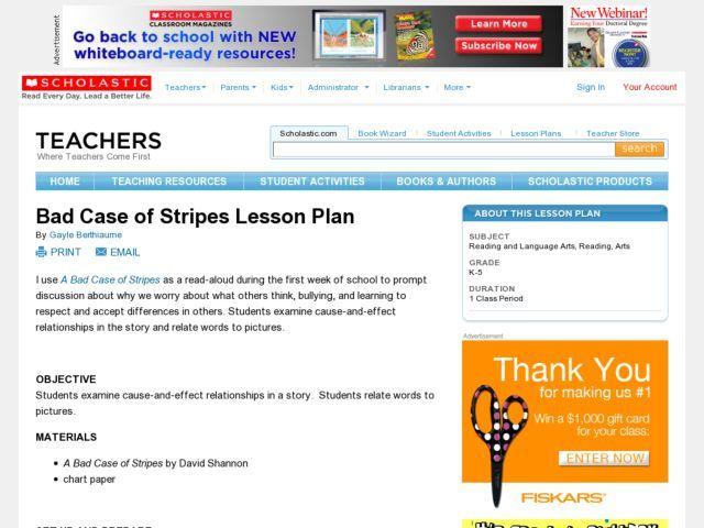 Bad case of stripes lesson plan lesson plan lesson planet
