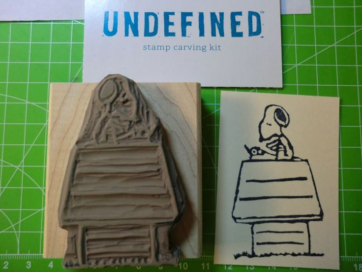 Snoopy card with a self-carved stamp by Susanne Kalisch