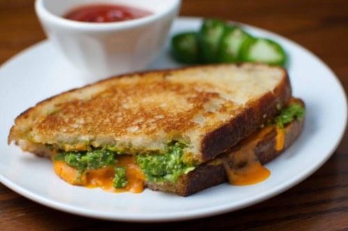 Vegan grilled cheese with spicy cilantro jalapeno pesto