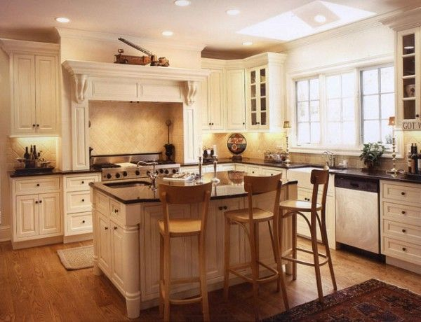 Off white cabinets and light oak floors   Klassy  Kitchens  Pint