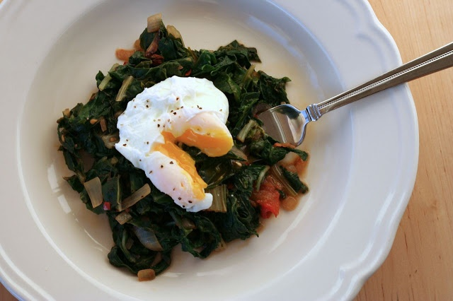 Spicy Braised Greens with Poached Egg | mmm...Food | Pinterest