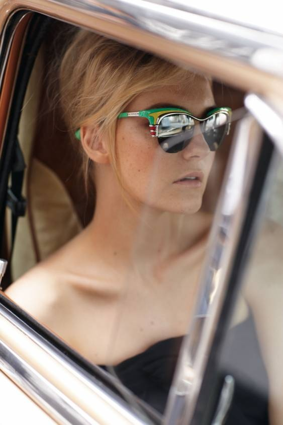 """Prada """"Deluxe"""" aquamarine and yellow pineapple acetate cat-eye sunglasses posted by @Neiman Marcus http://www.stylecaster.com/post/7699"""