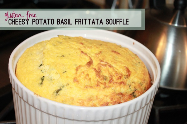 cheesy potato basil frittata souffle, breakfast food, gluten free ...