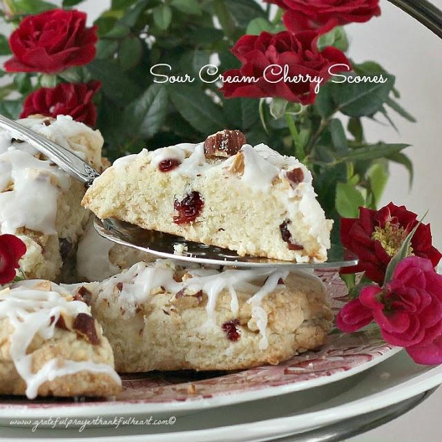 Sour Cream Cherry Scones from gratefulprayerthankfulheart.com