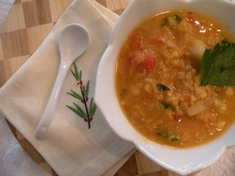 red lentil soup with turnip and parsley - from california greek girl