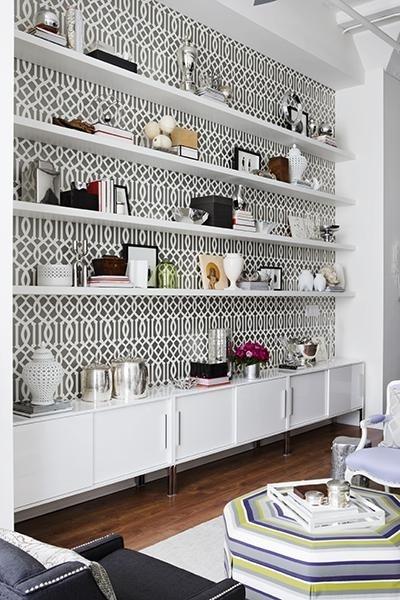 wallpaper behind shelves paz residence pinterest
