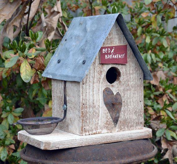 Rustic Birdhouse - Primitive Birdhouse - Heart Birdhouse - Bed and Breakfast Birdhouse - Bird Feeder