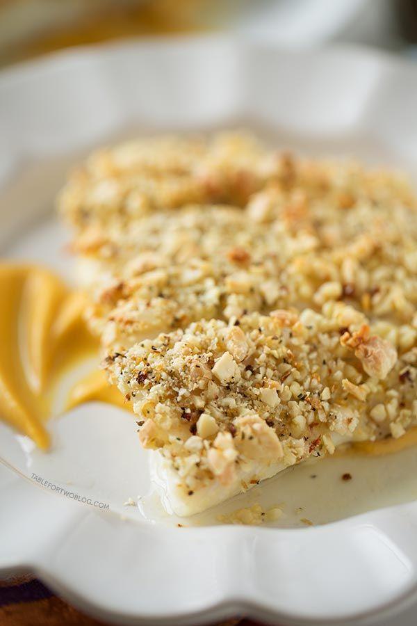 Almond Crusted Halibut with Pumpkin Sweet Potato Puree, sub almond ...