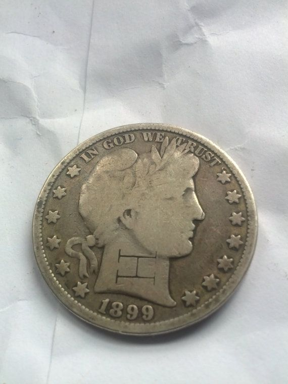 1899 barber half dollar counterstamped by DrewsCollectibles, $21.00