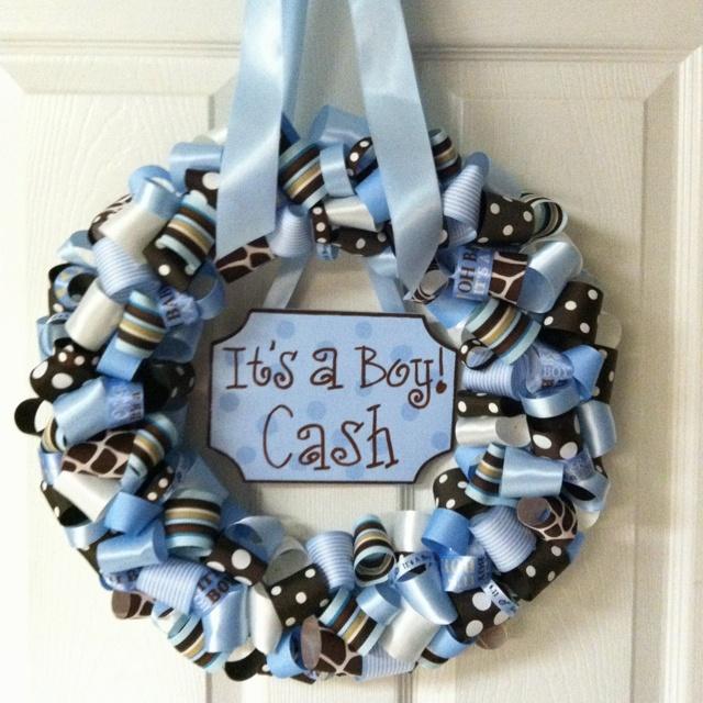 Hospital door wreath newborn door decorations pinterest for Baby boy door decoration