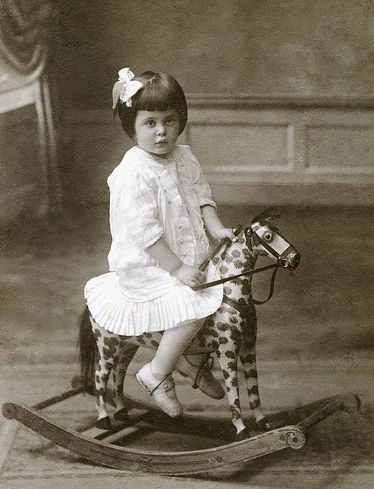 +~+~ Antique Photograph ~+~+ Little girl in white on adorable toy rocking horse. ca. 1910