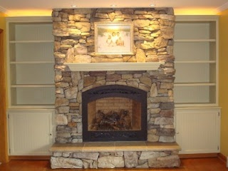 Cover brick with stone Add built ins