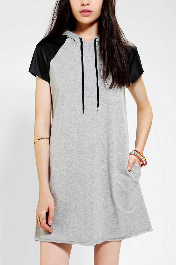 hood #care #short #super #side #dress Sparkle & Fade Leather-Sleeve